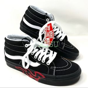 VANS SK8-Mid Reissue Flame Cut Out Suede Black W